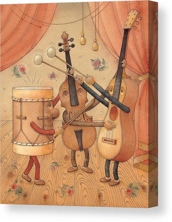 Music Instruments Guitar Violin Drums Concert Canvas Print featuring the painting Musicians by Kestutis Kasparavicius