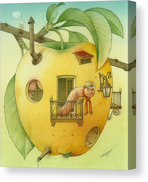 Landscape Apple Autumn Nature Illustration Yellow Home Canvas Print featuring the painting New House by Kestutis Kasparavicius