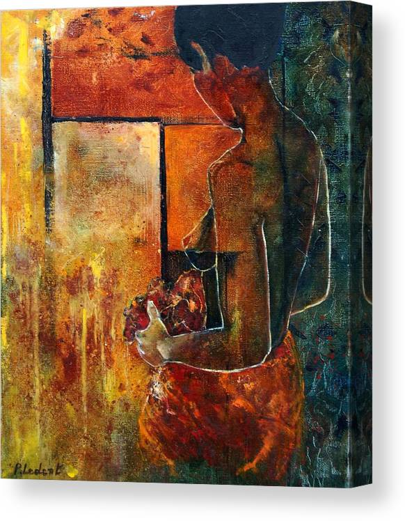 Woman Girl Fashion Nude Canvas Print featuring the painting Nude by Pol Ledent