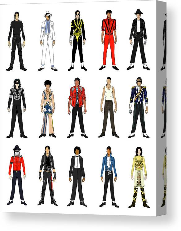 Michael Jackson Canvas Print featuring the digital art Outfits of Michael Jackson by Notsniw Art