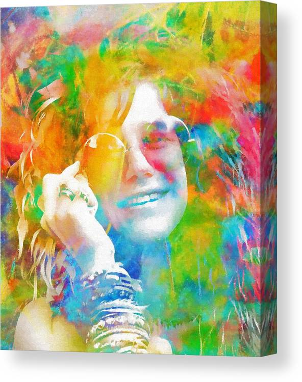 Janis Joplin Watercolor Canvas Print featuring the painting Piece Of My Heart by Dan Sproul
