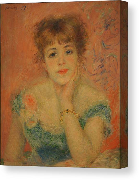 Jeanne Samary Canvas Print featuring the painting Portrait of the Actress Jeanne Samary by Pierre Auguste Renoir