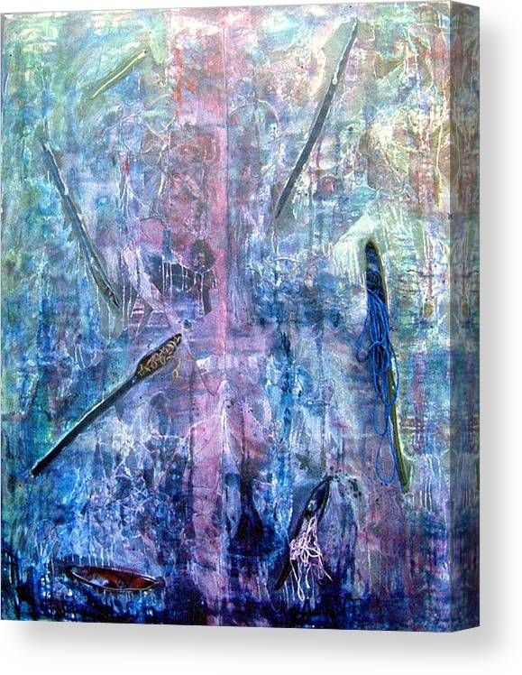 Abstract Canvas Print featuring the painting Seven Zippers by Nancy Mueller