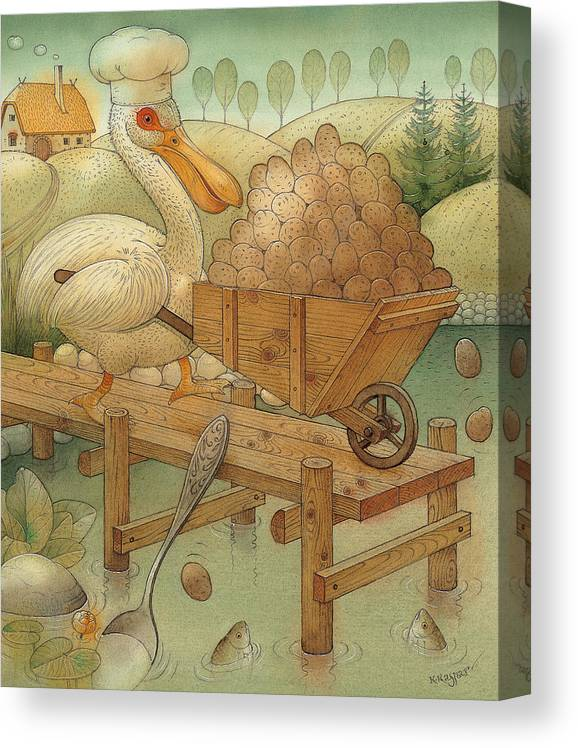 Lake Pelican Birds Autumn Water Food Cook Kitchen Dinner Canvas Print featuring the painting Soup in the Lake by Kestutis Kasparavicius
