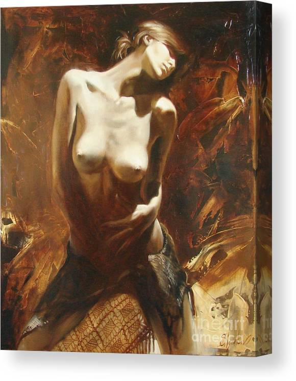 Oil Canvas Print featuring the painting The incinerating passion by Sergey Ignatenko