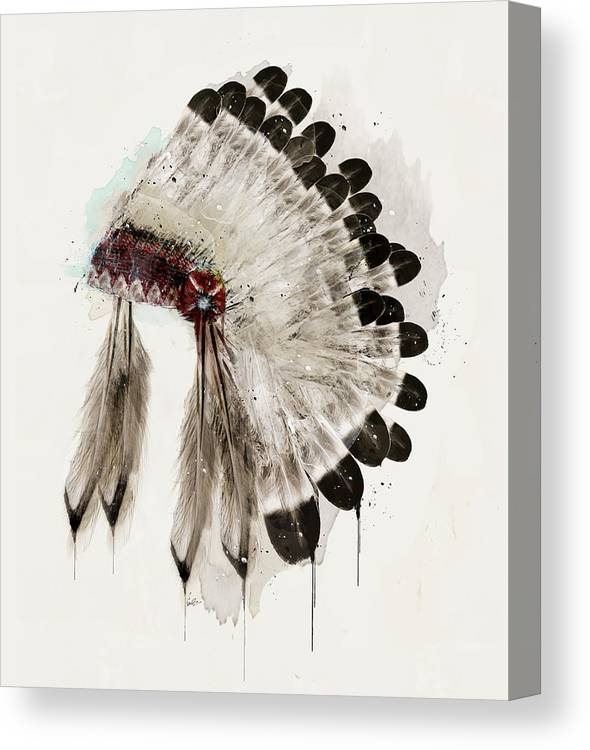 Native Headdress Canvas Print featuring the painting The Winter Headdress by Bri Buckley