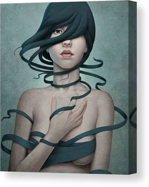 Woman Canvas Print featuring the digital art Twisted by Diego Fernandez