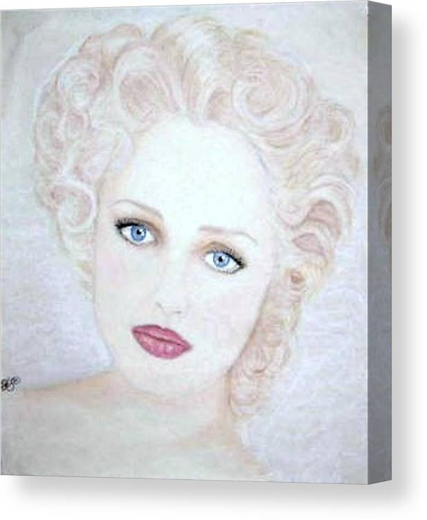 Face Canvas Print featuring the drawing Virginia by Scarlett Royal