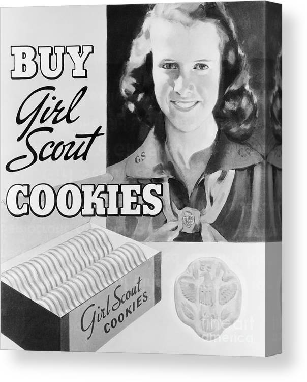 Child Canvas Print featuring the photograph Advertisement Poster For Girl Scout by Bettmann