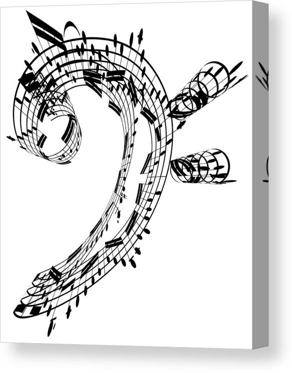 Sheet Music Canvas Print featuring the digital art Bass Clef Made Of Music Notes by Ian Mckinnell