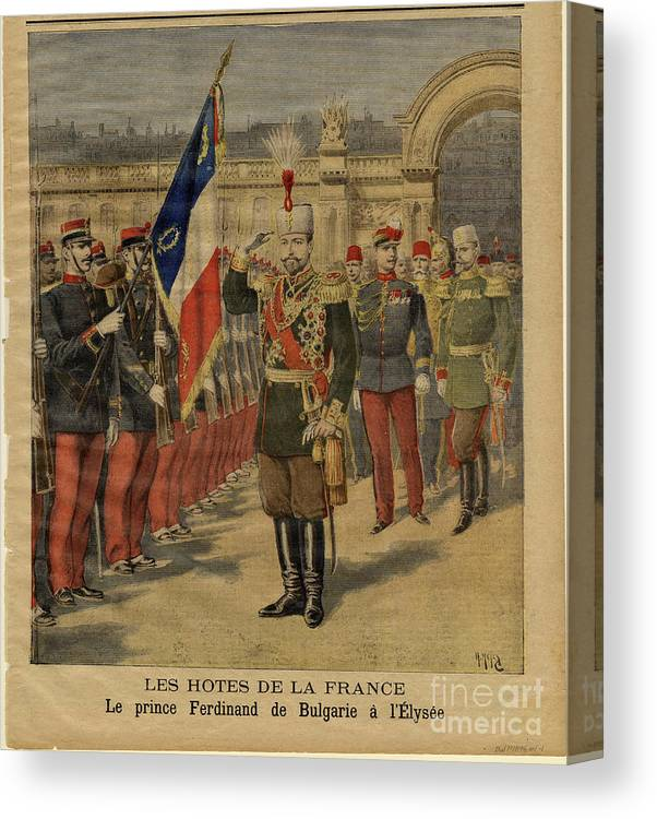 Bulgaria Canvas Print featuring the drawing Ferdinand I Of Bulgaria At The Élysée by Heritage Images