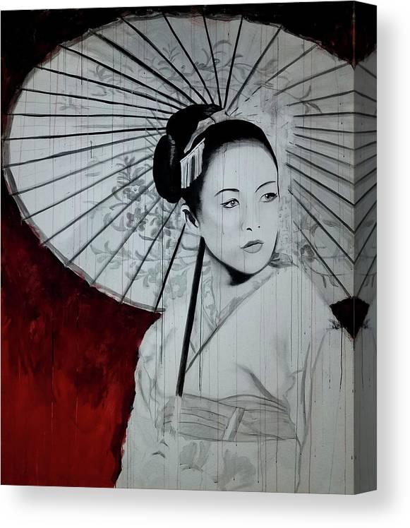 Geisha Canvas Print featuring the painting Geisha by Scott Robinson