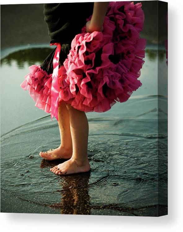 Toddler Canvas Print featuring the photograph Little Girls Feet Splashing And Dancing by Ssj414