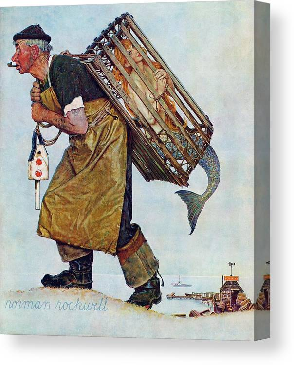 Lobsterman Canvas Print featuring the drawing Mermaid by Norman Rockwell
