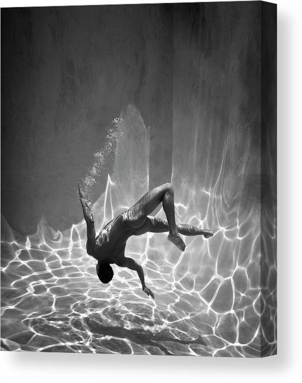 Underwater Canvas Print featuring the photograph Naked Man Underwater by Ed Freeman