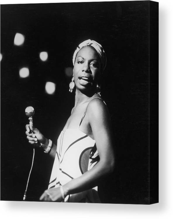 Nina Simone Canvas Print featuring the photograph Nina In Concert by Hulton Archive