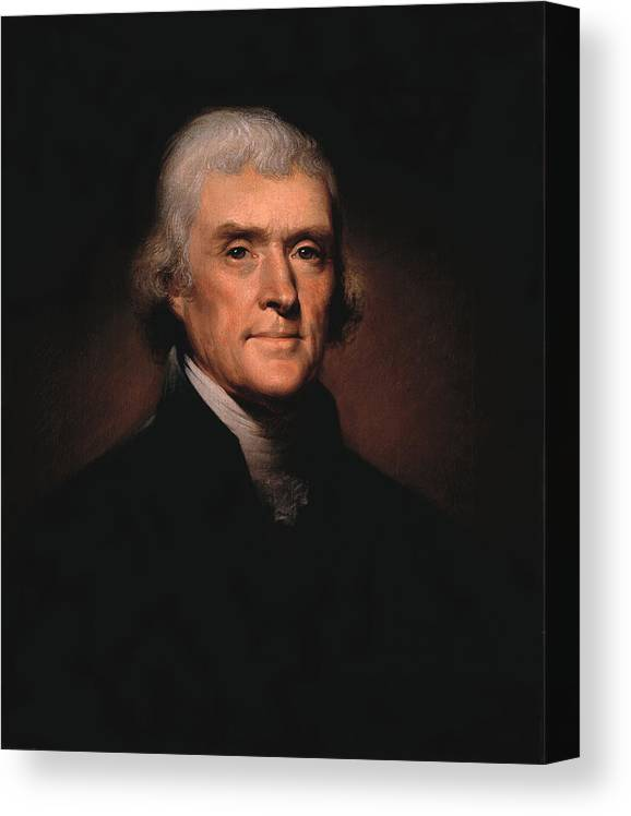 Thomas Jefferson Canvas Print featuring the painting President Thomas Jefferson by War Is Hell Store