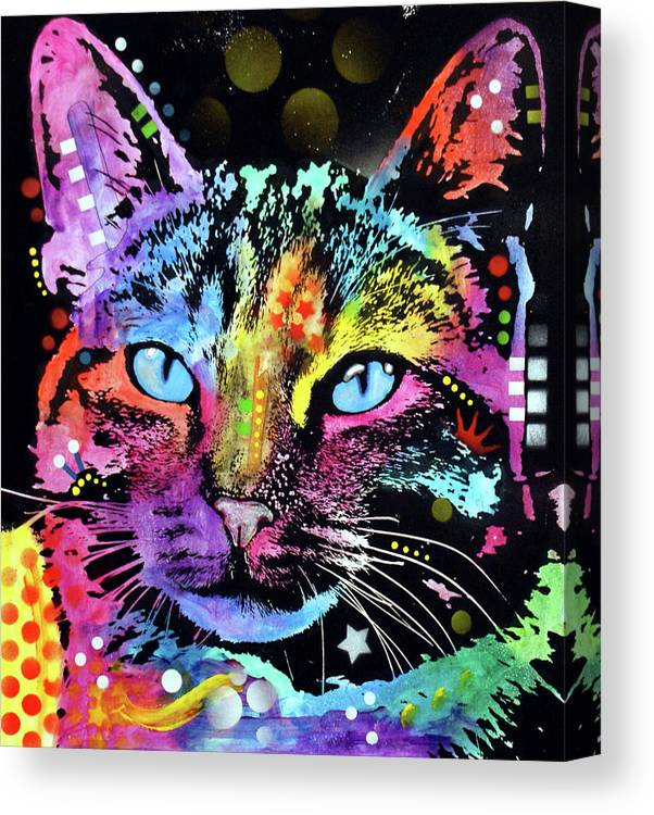 Thoughtful Cat Canvas Print featuring the mixed media Thoughtful Cat by Dean Russo