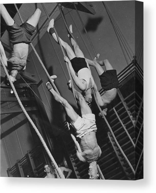 Hanging Canvas Print featuring the photograph Upside Down Exercises by Fox Photos