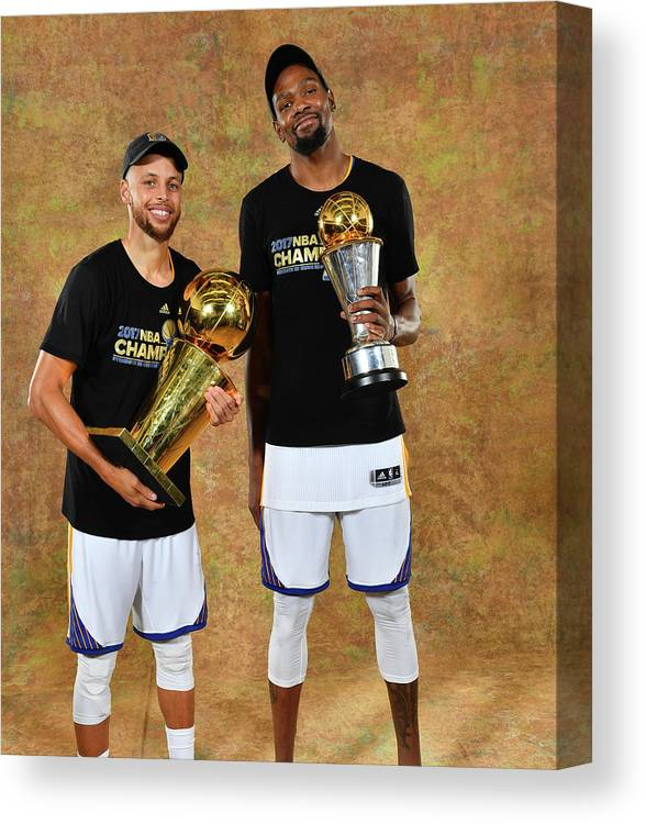 Playoffs Canvas Print featuring the photograph Stephen Curry and Kevin Durant by Jesse D. Garrabrant