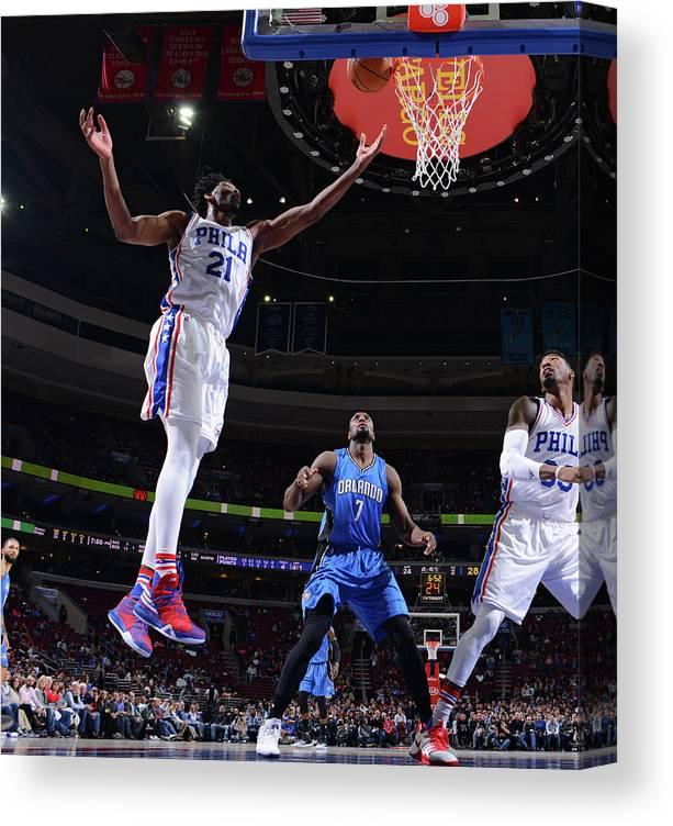 Nba Pro Basketball Canvas Print featuring the photograph Joel Embiid by Jesse D. Garrabrant