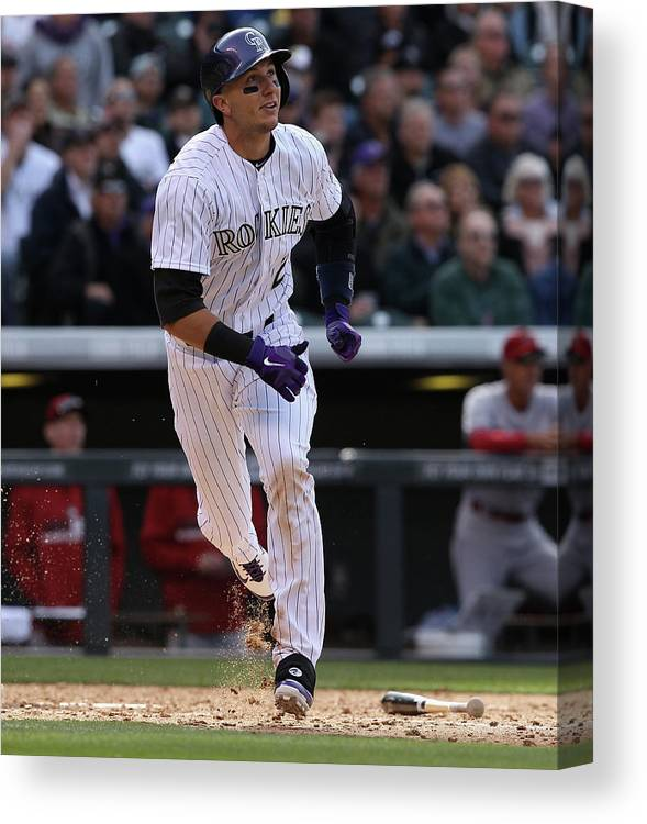 Shortstop Canvas Print featuring the photograph Troy Tulowitzki by Doug Pensinger