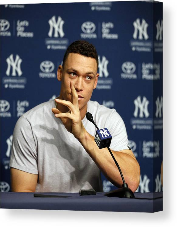 People Canvas Print featuring the photograph Aaron Judge by Paul Bereswill