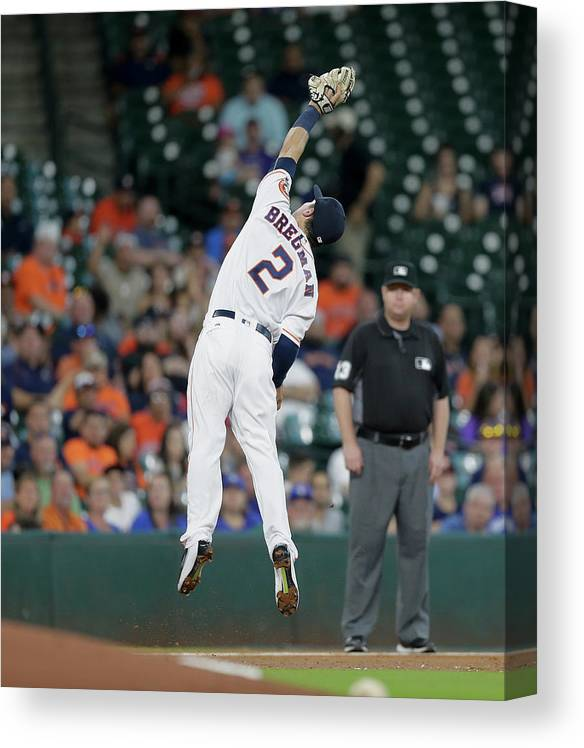 Alex Bregman Canvas Print featuring the photograph Alex Bregman and Darwin Barney by Bob Levey