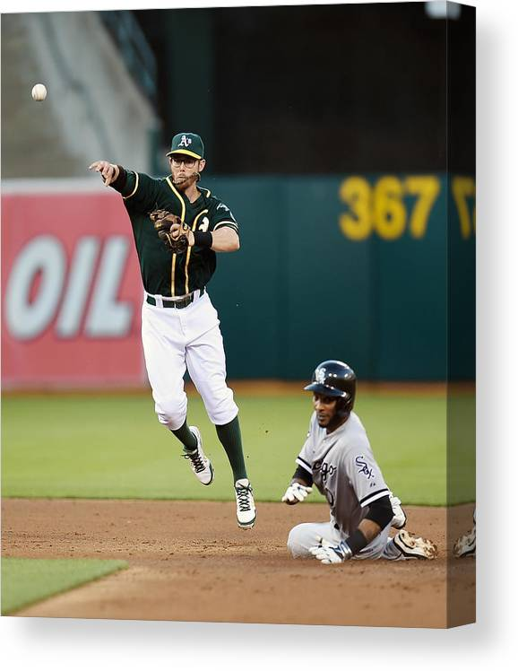 Double Play Canvas Print featuring the photograph Alexei Ramirez and Eric Sogard by Thearon W. Henderson