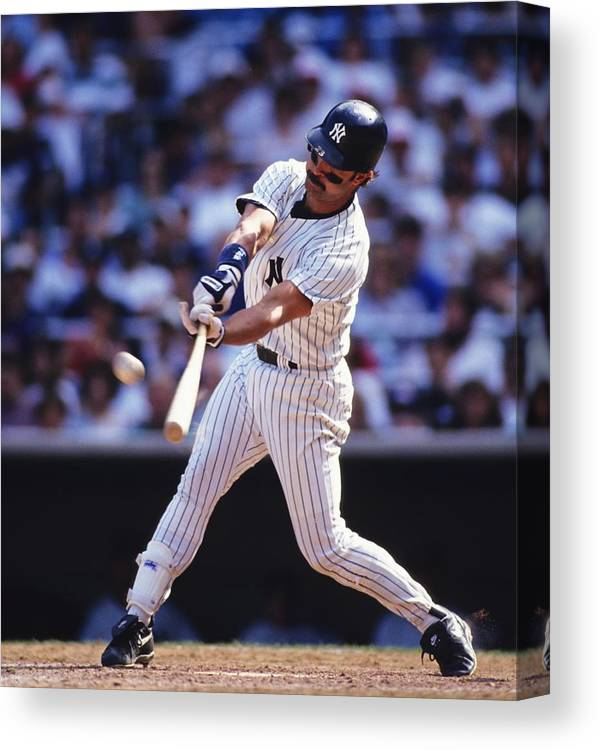 American League Baseball Canvas Print featuring the photograph Don Mattingly by Ronald C. Modra/sports Imagery