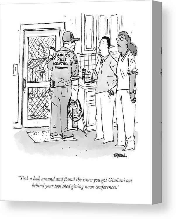 """""""took A Look Around And Found The Issue: You Got Giuliani Out Behind Your Tool Shed Giving News Conferences."""" Canvas Print featuring the drawing Found The Issue by Tim Hamilton"""