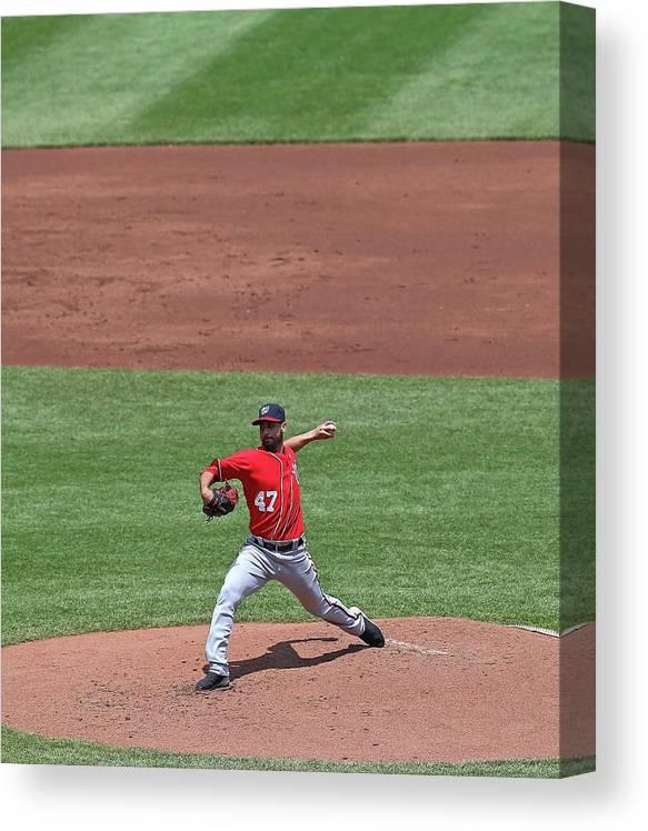 Ball Canvas Print featuring the photograph Gio Gonzalez by Jonathan Daniel