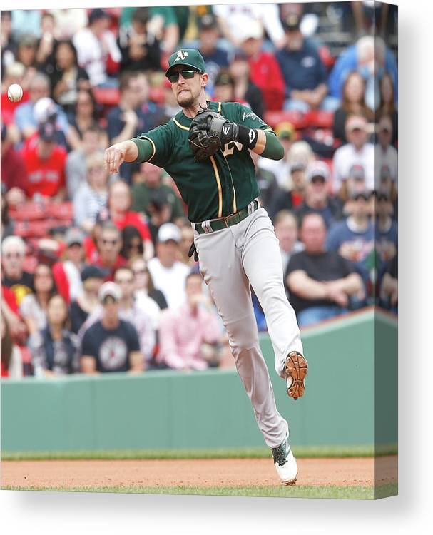 American League Baseball Canvas Print featuring the photograph Jed Lowrie by Jim Rogash