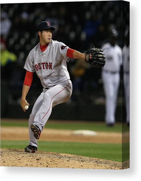 American League Baseball Canvas Print featuring the photograph Junichi Tazawa by Jonathan Daniel