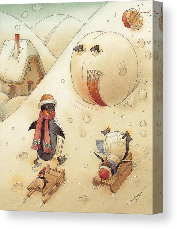 Penguins Christmas Winter Snow Sledding White Holiday Canvas Print featuring the painting Penguins by Kestutis Kasparavicius
