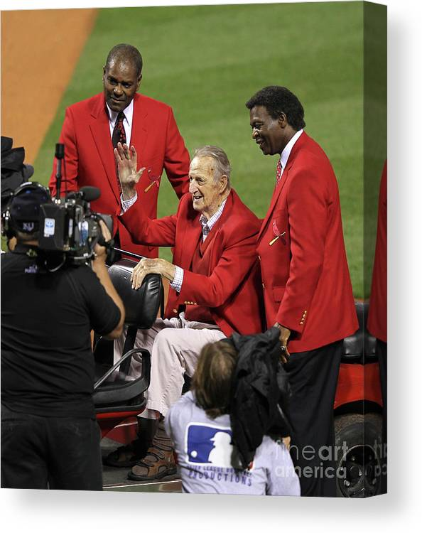 National League Baseball Canvas Print featuring the photograph Stan Musial, Bob Gibson, and Lou Brock by Jamie Squire