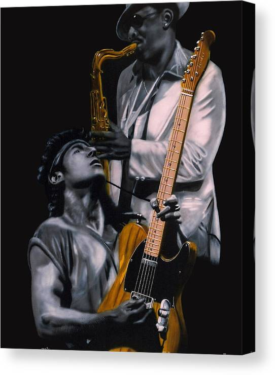 Limited Time Promotion: Bruce Springsteen And Clarence Clemons Stretched Canvas Print