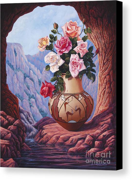 Flowers Canvas Print featuring the painting Fragrance And Dew by Ricardo Chavez-Mendez