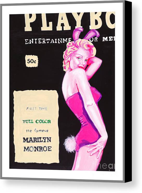 Marilyn Monroe Canvas Print featuring the painting 50 Years Of Bunnies by Holly Picano
