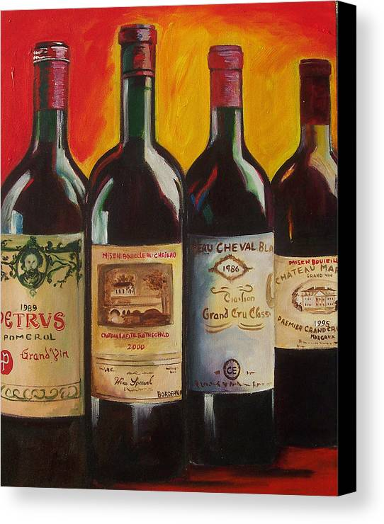 Wine Painting Canvas Print featuring the painting Bordeaux by Sheri Chakamian