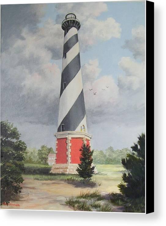 Sunrise Clouds Canvas Print featuring the painting Cape Hatteris Sunrise by Wanda Dansereau