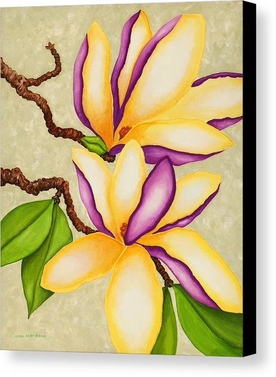 Two Magnolias Canvas Print featuring the painting Magnolias by Carol Sabo