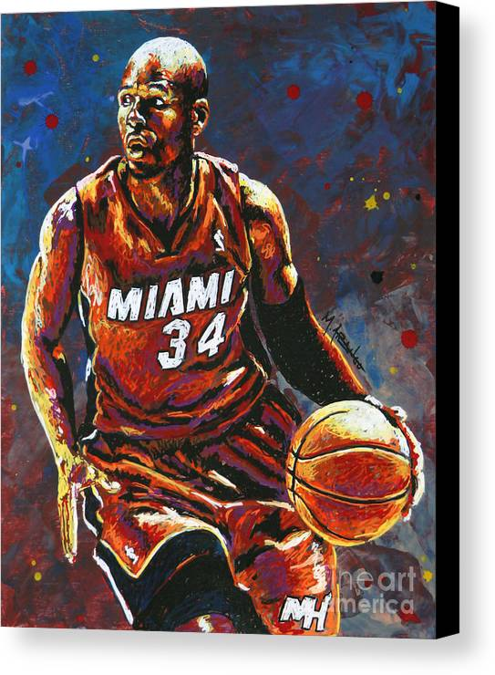 Ray Canvas Print featuring the painting Ray Allen by Maria Arango