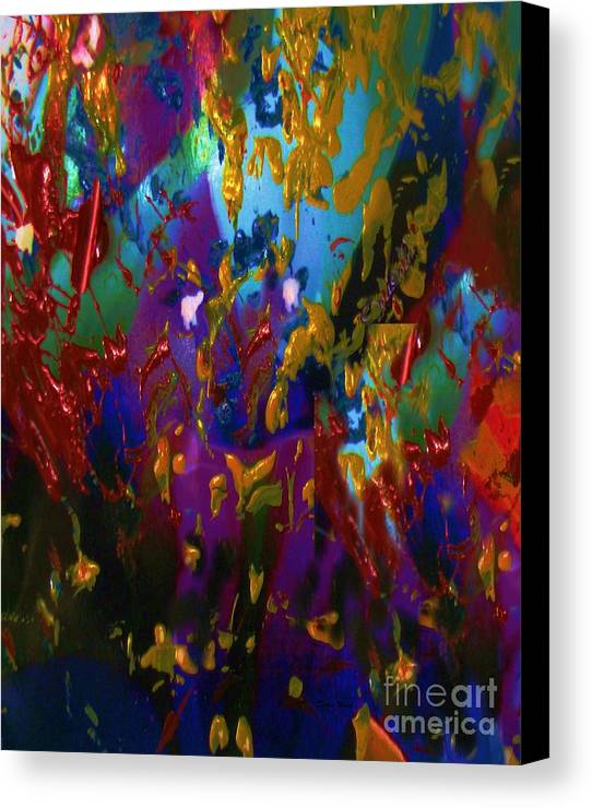 Abstract Acrylic Canvas Print featuring the painting Splatter by Doris Wood