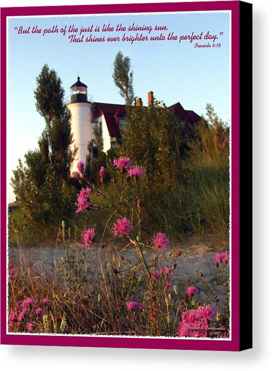 Lighthouse Canvas Print featuring the photograph The Perfect Day by Stephen Campanella