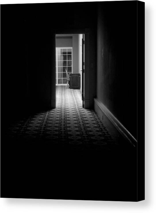Black And White Canvas Print featuring the photograph Dark Passage by Christine Wiemers