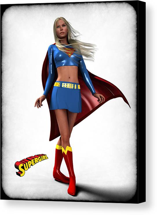Super Heroe Canvas Print featuring the digital art Super Girl by Frederico Borges
