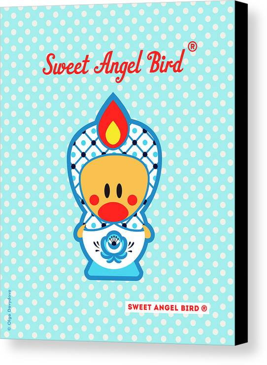 Cute Art Canvas Print featuring the digital art Cute Art - Blue Polka Dot Folk Art Sweet Angel Bird In A Nesting Doll Costume Wall Art by Olga Davydova