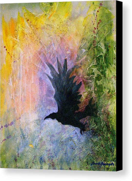 Raven Canvas Print featuring the painting A Stately Raven by Sandy Applegate