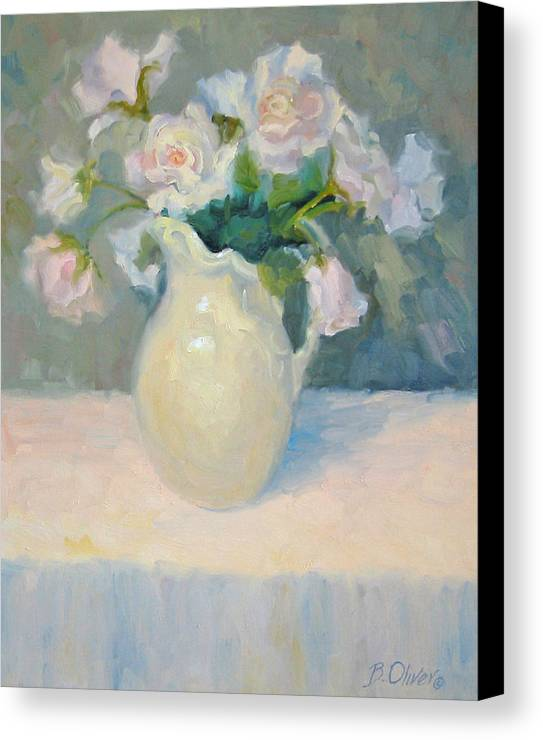 Still Life Canvas Print featuring the painting Blushing Roses by Bunny Oliver